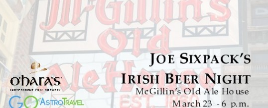 Irish beer night with Joe Sixpack at McGillin's Old Ale House