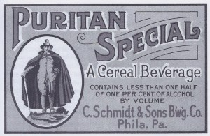 Advertisement for Puritan Special cereal beverage brewed during Prohibition as a beer substitute