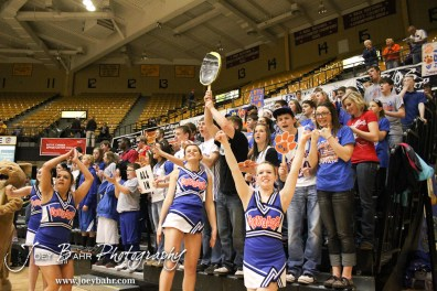 Otis-Bison students cheer before the start of the 2012 Class 1A Division II Boys State Championship Semifinals Game against the Hope Lions at Gross Memorial Coliseum at Fort Hays State University in Hays, Kansas on March 9, 2012. Photo: Joey Bahr