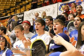 Otis-Bison students cheer on their team against the Hope Lions in the 2012 Class 1A Division II Boys State Championship Semifinals Game at Gross Memorial Coliseum at Fort Hays State University in Hays, Kansas on March 9, 2012. Photo: Joey Bahr
