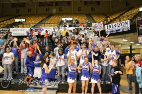 Otis-Bison students celebrate as the Cougars win the 2012 Class 1A Division II Boys State Championship Semifinals Game against the Hope Lions at Gross Memorial Coliseum at Fort Hays State University in Hays, Kansas on March 9, 2012. Photo: Joey Bahr