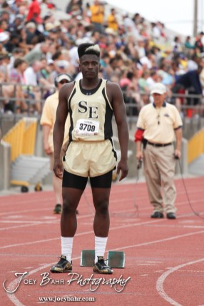 Steven Calloway of Wichita Southeast awaits the start of the Class 6A Boys 400 Meter Dash during the 2012 KSHSAA State Track and Field Championship at Cessna Stadium on the campus of Wichita State University in Wichita, Kansas on May 25, 2012. (Photo: Joey Bahr, www.joeybahr.com)