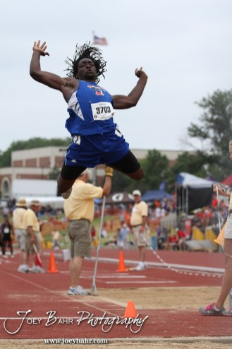 Wichita South's Davonte Harris leaps in the Class 6A Boys Long Jump during the 2012 KSHSAA State Track and Field Championship at Cessna Stadium on the campus of Wichita State University in Wichita, Kansas on May 25, 2012. (Photo: Joey Bahr, www.joeybahr.com)