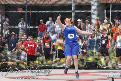 Winfield's Brandi Young throws the discuss during the 2012 KSHSAA State Track and Field Championship at Cessna Stadium on the campus of Wichita State University in Wichita, Kansas on May 25, 2012. (Photo: Joey Bahr, www.joeybahr.com)