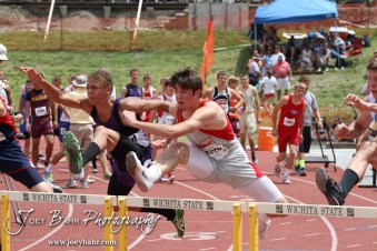 Adam Oak of Macksville leaps over a hurdle in the Preliminaries of the Class 1A Boys 110 Meter High Hurdles during the 2012 KSHSAA State Track and Field Championship at Cessna Stadium on the campus of Wichita State University in Wichita, Kansas on May 25, 2012. (Photo: Joey Bahr, www.joeybahr.com)