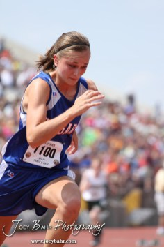 Hannah Bannister of Otis-Bison sprints in the Preliminaries of the Class 1A Girls 400 Meter Dash during the 2012 KSHSAA State Track and Field Championship at Cessna Stadium on the campus of Wichita State University in Wichita, Kansas on May 25, 2012. (Photo: Joey Bahr, www.joeybahr.com)