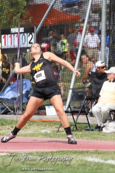 Tyler Farthing of Madison throws in the Class 1A Girls Javelin during the 2012 KSHSAA State Track and Field Championship at Cessna Stadium on the campus of Wichita State University in Wichita, Kansas on May 25, 2012. (Photo: Joey Bahr, www.joeybahr.com)