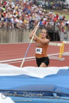 Kiowa County's Mackenzie Rose starts her attempt at the Class 2A Girls Pole Vault during the 2012 KSHSAA State Track and Field Championship at Cessna Stadium on the campus of Wichita State University in Wichita, Kansas on May 26, 2012. (Photo: Joey Bahr, www.joeybahr.com)