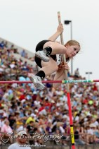 Kiowa County's Katelynn Gamble clears the bar in an attempt at the Class 2A Girls Pole Vault during the 2012 KSHSAA State Track and Field Championship at Cessna Stadium on the campus of Wichita State University in Wichita, Kansas on May 26, 2012. (Photo: Joey Bahr, www.joeybahr.com)