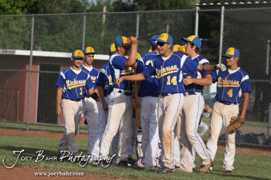 The Nickerson Panthers huddle up before their game against the Colby Eagles at the KSHSAA 4A Regional Baseball Championship at Legion Field in Hoisington, Kansas on May 16, 2012. (Photo: Joey Bahr, www.joeybahr.com)