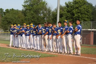 The Nickerson Panthers players lineup for introductions before their game against the Colby Eagles at the KSHSAA 4A Regional Baseball Championship at Legion Field in Hoisington, Kansas on May 16, 2012. (Photo: Joey Bahr, www.joeybahr.com)