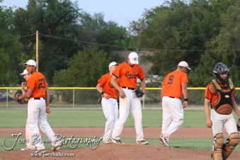 The Colby Eagles head back to their positions after a meeting on the mound in their game against the Nickerson Panthers at the KSHSAA 4A Regional Baseball Championship at Legion Field in Hoisington, Kansas on May 16, 2012. (Photo: Joey Bahr, www.joeybahr.com)