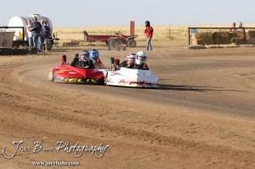 Racers start Heat 1 of the Junior 2 Light Class at the Ness County Speedway Kart Races sponsored by Walker Tank Service at Ness County Speedway in Ness City, Kansas on August 18, 2012. (Photo: Joey Bahr, www.joeybahr.com)