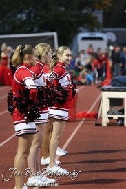 The McPherson Bullpups Cheerleaders watch the game during the Winfield at McPherson football game that ended in a 47 to 8 victory for the Bullpups at the McPherson Stadium in McPherson, Kansas on September 28, 2012. (Photo: Joey Bahr, www.joeybahr.com)