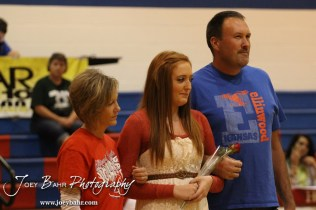 Ellinwood Lady Eagle Kaitlyn Wondra (#25) is introduced with her parents before the Central Plains Lady Oilers at Ellinwood Lady Eagles volleyball match at Ellinwood High School in Ellinwood, Kansas on October 11, 2012. (Photo: Joey Bahr, www.joeybahr.com)