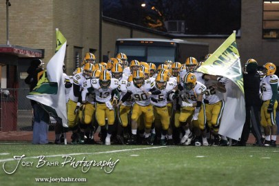 The Salina South Cougars take to the field before the Great Bend versus Salina South football game with Salina South winning 56-21 at Memorial Stadium at Great Bend High School in Great Bend, Kansas on October 26, 2012. (Photo: Joey Bahr, www.joeybahr.com)