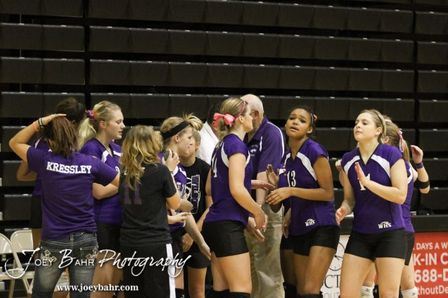The Wilson Lady Dragons break from a huddle during the Wilson versus Argonia KSHSAA Class 1A Division II State Volleyball Pool II match with Argonia winning 25-12, 16-25, 25-16 in Hays, Kansas on October 26, 2012. (Photo: Joey Bahr, www.joeybahr.com)