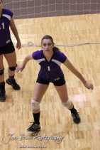 Wilson Lady Dragon Kasey Davis (#1) warms up before the Wilson versus Weskan KSHSAA Class 1A Division II State Volleyball Pool II match with Weskan winning 26-24, 25-12 in Hays, Kansas on October 26, 2012. (Photo: Joey Bahr, www.joeybahr.com)