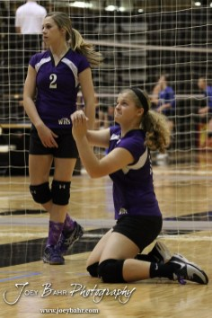 Wilson Lady Dragon Weinhold Ashlyn (#16) warms up before the Wilson versus Weskan KSHSAA Class 1A Division II State Volleyball Pool II match with Weskan winning 26-24, 25-12 in Hays, Kansas on October 26, 2012. (Photo: Joey Bahr, www.joeybahr.com)