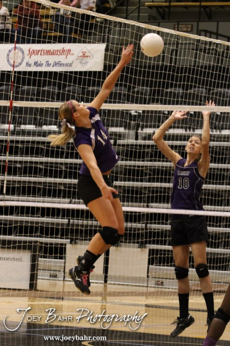 Wilson Lady Dragon Antjelica Pfannenstiel (#14) hits a shot over the net during the Wilson versus Weskan KSHSAA Class 1A Division II State Volleyball Pool II match with Weskan winning 26-24, 25-12 in Hays, Kansas on October 26, 2012. (Photo: Joey Bahr, www.joeybahr.com)
