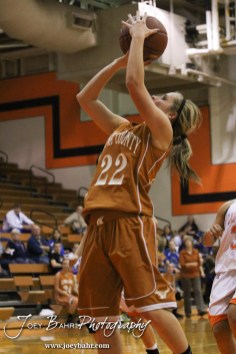 Kiowa County Lady Maverick Riann Heft (#22) shoots the ball during the Larned Lady Indians versus Kiowa County Lady Mavericks First Round Game with Larned winning 50 to 39 at the 6th Annual Keady Basketball Classic held at Larned Middle School in Larned, Kansas on December 3, 2012. (Photo: Joey Bahr, www.joeybahr.com)