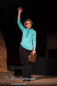 """Great Bend Community Theater Director Sally O'Conner practices her before play remarks during the Great Bend Community Theater's final rehearsal of """"Duck Hunter Shoots Angel"""" by Mitch Albom at Crest Theater in Great Bend, Kansas on April 17, 2013. (Photo: Joey Bahr, www.joeybahr.com)"""