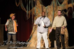 """Duane played by K.B. Bell, Lenny played by C.T. Taylor, and Sandy played by Doug Simmons call out for Duwell played by Charlie Dixon during the Great Bend Community Theater's final rehearsal of """"Duck Hunter Shoots Angel"""" by Mitch Albom at Crest Theater in Great Bend, Kansas on April 17, 2013. (Photo: Joey Bahr, www.joeybahr.com)"""