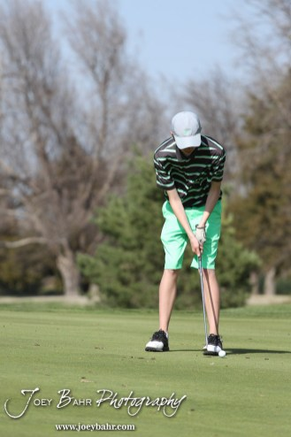 Salina South Cougar Tim Kroeker putts during the Great Bend High School Boys Golf Invitational Tournament at The Club at Stoneridge in Great Bend, Kansas on April 29, 2013. (Photo: Joey Bahr, www.joeybahr.com)