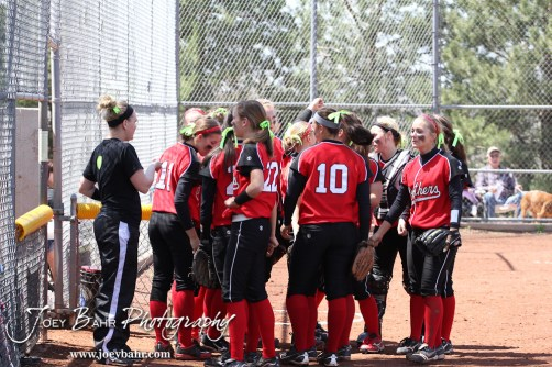 The Great Bend Lady Panthers huddle up before the start of the second game during the Liberal Lady Redskins at Great Bend Lady Panthers Softball Double Header with Great Bend winning both games 18-0 (3 innings) 13-0 at Barton Community College Softball Field in Great Bend, Kansas on April 27, 2013. (Photo: Joey Bahr, www.joeybahr.com)