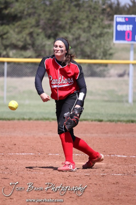 Great Bend Lady Panther Pitcher Hunter Middleton (#33) throws a pitch during the Liberal Lady Redskins at Great Bend Lady Panthers Softball Double Header with Great Bend winning both games 18-0 (3 innings) 13-0 at Barton Community College Softball Field in Great Bend, Kansas on April 27, 2013. (Photo: Joey Bahr, www.joeybahr.com)