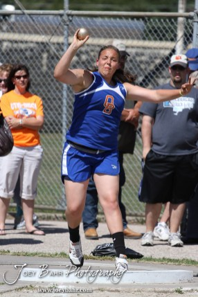 Megan Tammen of Otis-Bison throws the shot put during the 2013 KSHSAA Class 1A Regional Track and Field competition at Lewis Field on the campus of Fort Hays State University in Hays, Kansas on May 17, 2013. (Photo: Joey Bahr, www.joeybahr.com)