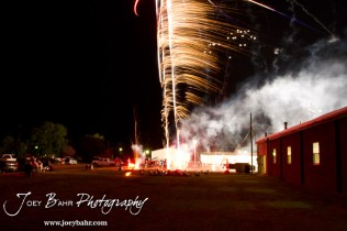 Fireworks launch up into the sky during the Olmitz City Fireworks Celebration at the Knights of Columbus Council #2100 Hall in Olmitz, Kansas on July 6, 2013. (Photo: Joey Bahr, www.joeybahr.com)