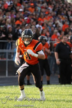 Larned Indian Brayden Smith (#3) starts to run a pass route during the Ellinwood versus Larned High School football game with the Larned Indians winning 60 to 0 at Larned High School in Larned, Kansas on September 13, 2013. (Photo: Joey Bahr, www.joeybahr.com)