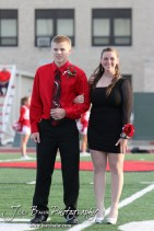Candidates Deiah Curtis and Trent Schremmer pause for pictures during the 2013 Hoisington High School Homecoming Festivities prior to the Larned at Hoisington Football game at Elton Brown Field in Hoisington, Kansas on October 11, 2013. (Photo: Joey Bahr, www.joeybahr.com)