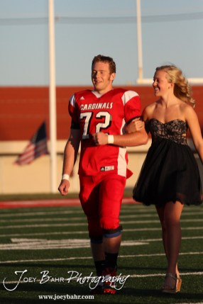 Kagan Blackwell reacts to being named the King during the 2013 Hoisington High School Homecoming Festivities prior to the Larned at Hoisington Football game at Elton Brown Field in Hoisington, Kansas on October 11, 2013. (Photo: Joey Bahr, www.joeybahr.com)