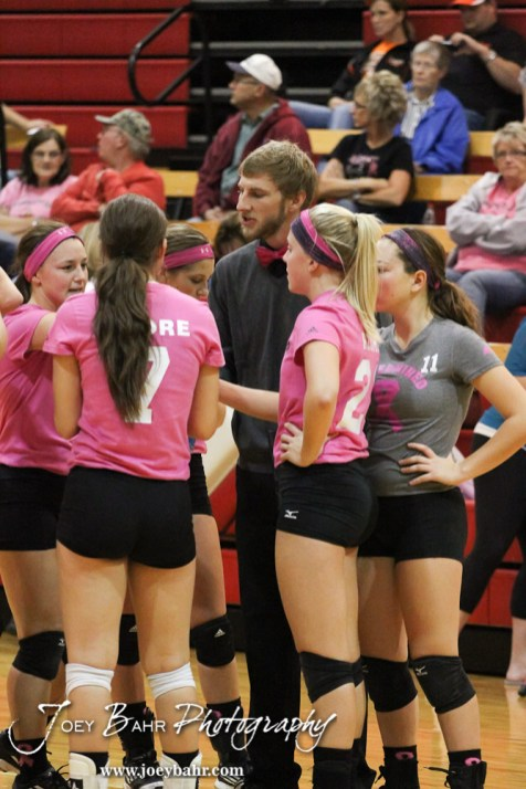 Hoisington Lady Cardinal Head Coach Jon Bingesser addresses his team as they huddle for a timeout during the Hoisington versus Smoky Valley volleyball match with Hoisington winning in two sets at Hoisington Activity Center in Hoisington, Kansas on October 22, 2013. (Photo: Joey Bahr, www.joeybahr.com)