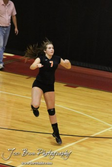 Smoky Valley Lady Viking Cassidy Hornbacher (#7) serves the ball during the Hoisington versus Smoky Valley volleyball match with Hoisington winning in two sets at Hoisington Activity Center in Hoisington, Kansas on October 22, 2013. (Photo: Joey Bahr, www.joeybahr.com)