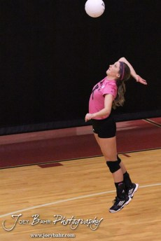 Hoisington Lady Cardinal Abbi Demel (#8) serves during the Hoisington versus Smoky Valley volleyball match with Hoisington winning in two sets at Hoisington Activity Center in Hoisington, Kansas on October 22, 2013. (Photo: Joey Bahr, www.joeybahr.com)