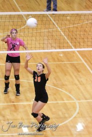 Smoky Valley Lady Viking Rilee Carson (#30) sets the ball during the Hoisington versus Smoky Valley volleyball match with Hoisington winning in two sets at Hoisington Activity Center in Hoisington, Kansas on October 22, 2013. (Photo: Joey Bahr, www.joeybahr.com)