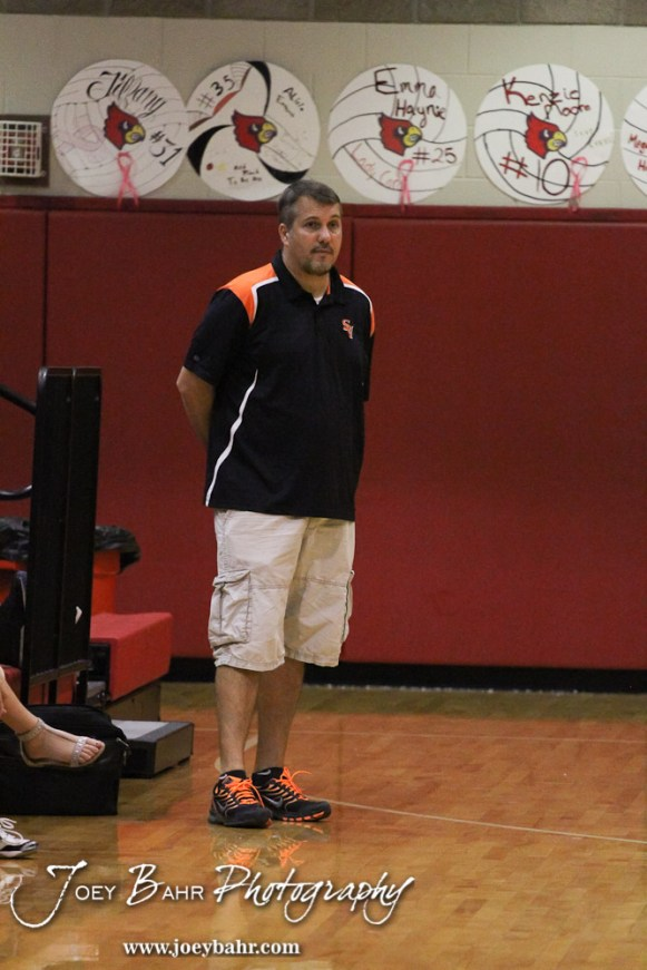 Smoky Valley Lady Viking Head Coach Doug Schneider watches his players during the Hoisington versus Smoky Valley volleyball match with Hoisington winning in two sets at Hoisington Activity Center in Hoisington, Kansas on October 22, 2013. (Photo: Joey Bahr, www.joeybahr.com)