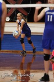 During the Otis-Bison Junior High Junior Varsity Volleyball match with St. John at Otis-Bison Junior High School in Bison, Kansas on October 17, 2013. (Photo: Joey Bahr, www.joeybahr.com)