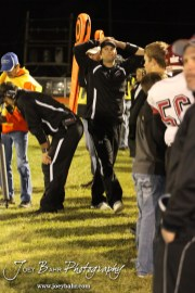 Frustration shows on the faces of the Plainville Cardinal coaching staff during the Plainville versus LaCrosse KSHSAA Class 2-1A Regional Football Playoff game with LaCrosse winning 41 to 14 at Bill Schoenfelder Field in LaCrosse, Kansas on November 8, 2013. (Photo: Joey Bahr, www.joeybahr.com)