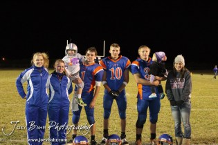 The Otis-Bison Cougars Seniors take a team picture following the Sylvan-Lucas vs Otis-Bison High School football game with Otis-Bison winning 32 to 30 at Otis-Bison High School Field in Otis, Kansas on October 31, 2013. (Photo: Joey Bahr, www.joeybahr.com)