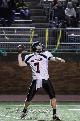 Great Bend Panther Bryce Beck (#7 ) throws a pass during the Great Bend versus Salina South High School football game with Salina South winning 56 to 13 at Salina Stadium in Salina, Kansas on November 1, 2013. (Photo: Joey Bahr, www.joeybahr.com)