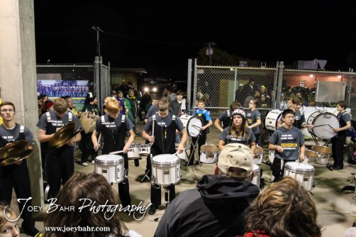 The Salina South Cougar Drum Line perform following the Great Bend versus Salina South High School football game with Salina South winning 56 to 13 at Salina Stadium in Salina, Kansas on November 1, 2013. (Photo: Joey Bahr, www.joeybahr.com)