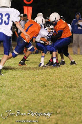 during the St. John versus Otis-Bison Junior High football game with St. John winning 30-0 at Otis-Bison High School in Otis, Kansas on October 17, 2013. (Photo: Joey Bahr, www.joeybahr.com)