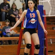 during the Otis-Bison/LaCrosse Volleyball Tournament at Otis-Bison High School in Otis, Kansas on September 14, 2013. (Photo: Joey Bahr, www.joeybahr.com)