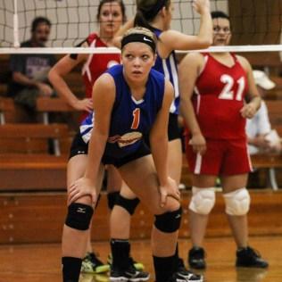 during the Otis-Bison/LaCrosse Volleyball Tournament at Otis-Bison High School in Otis, Kansas on September 14, 2013. (Photo: Joey Bahr, www.joeybahr.com)