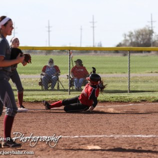 during the Great Bend Lady Panthers versus Hays Lady Indians Softball game with Great Bend winning 14 to 3 at Veteran's Memorial Park West Field in Great Bend, Kansas on May 2, 2014. (Photo: Joey Bahr, www.joeybahr.com)