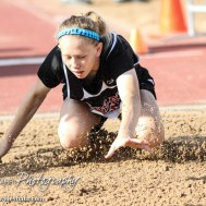 Shelby Tracy of Great Bend lands in the 5A Girls Long Jump during the Second Day of the 2014 KSHSAA State Track Meet at Cessna Stadium on the campus of Wichita State University in Wichita, Kansas on May 31, 2014. (Photo: Joey Bahr, www.joeybahr.com)